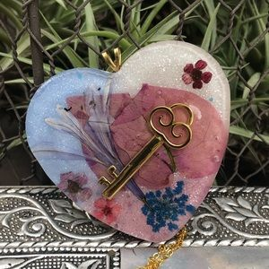 Floral lock and key necklace resin flower necklace